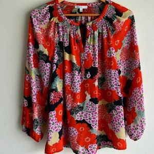 DR2 polyester floral  pullover top small red